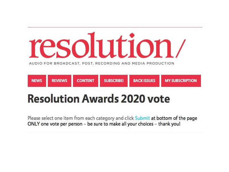 Resolution Magazine award, la votazione...
